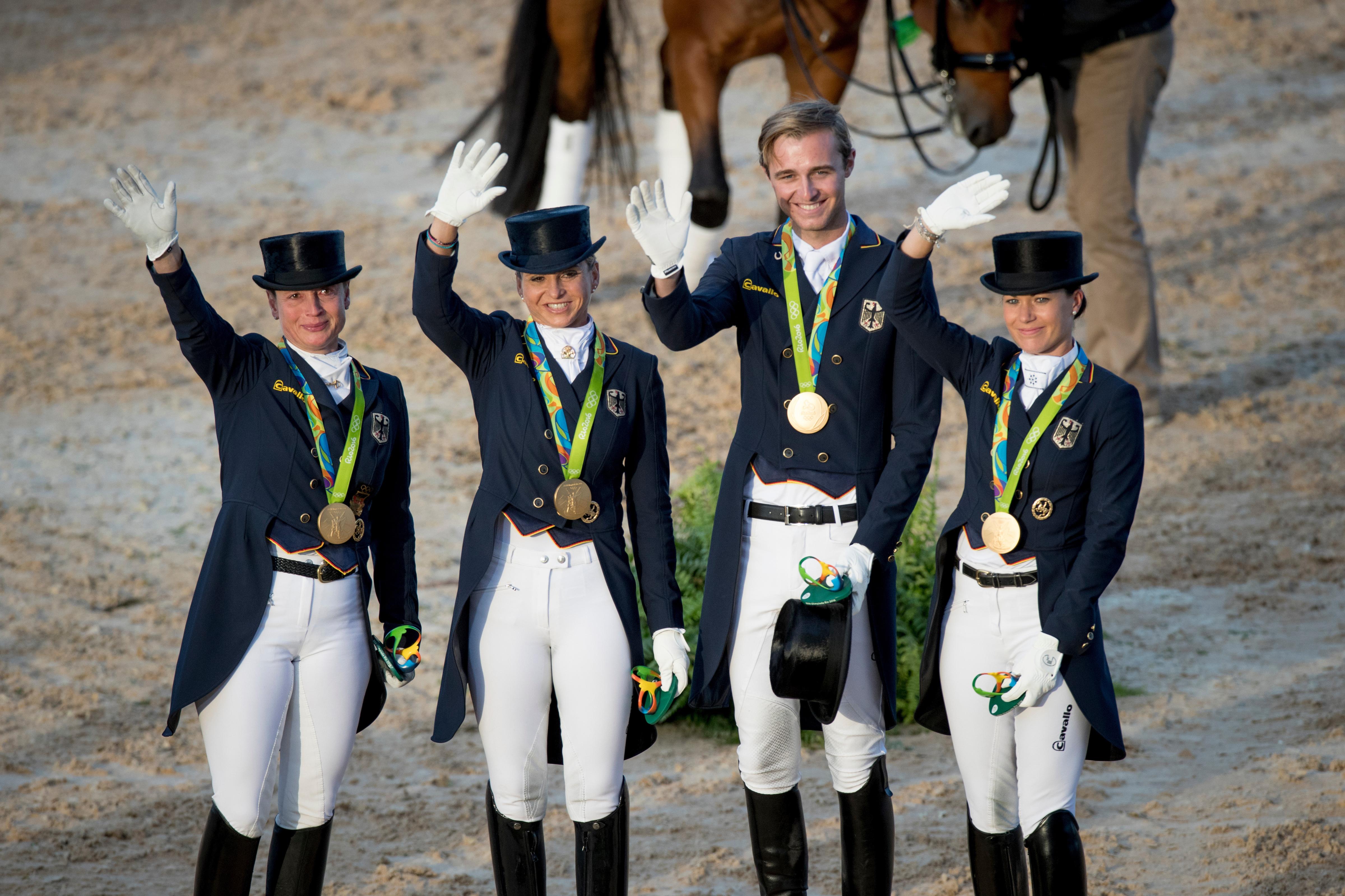 Team Germany, Werth Isabell, Schneider Dorothee, Rothenberger Sonke, Broring-Sprehe Kristina, GER Olympic Games Rio 2016 Photo © Hippo Foto - Dirk Caremans 12/08/16